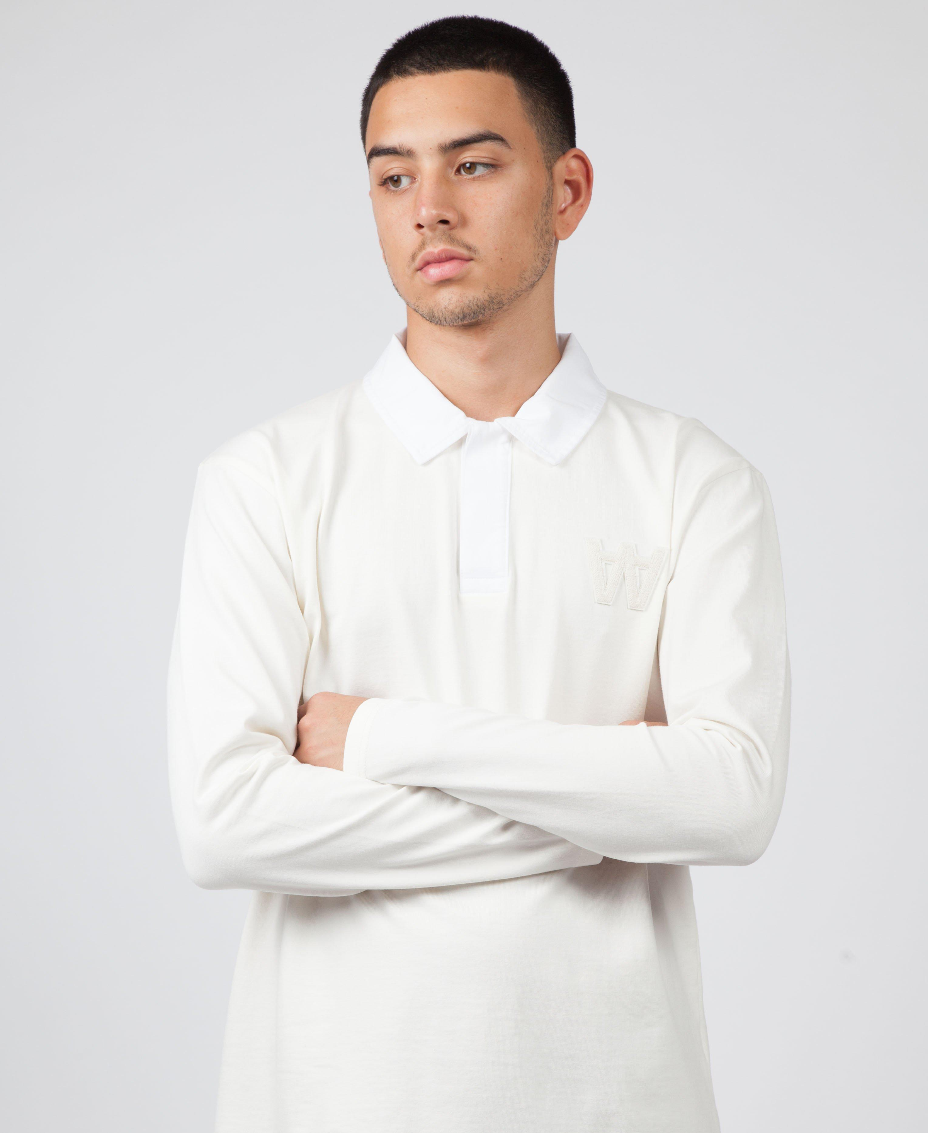 36b3f438 WOOD WOOD Oliver Long Sleeve Polo in White for Men - Lyst