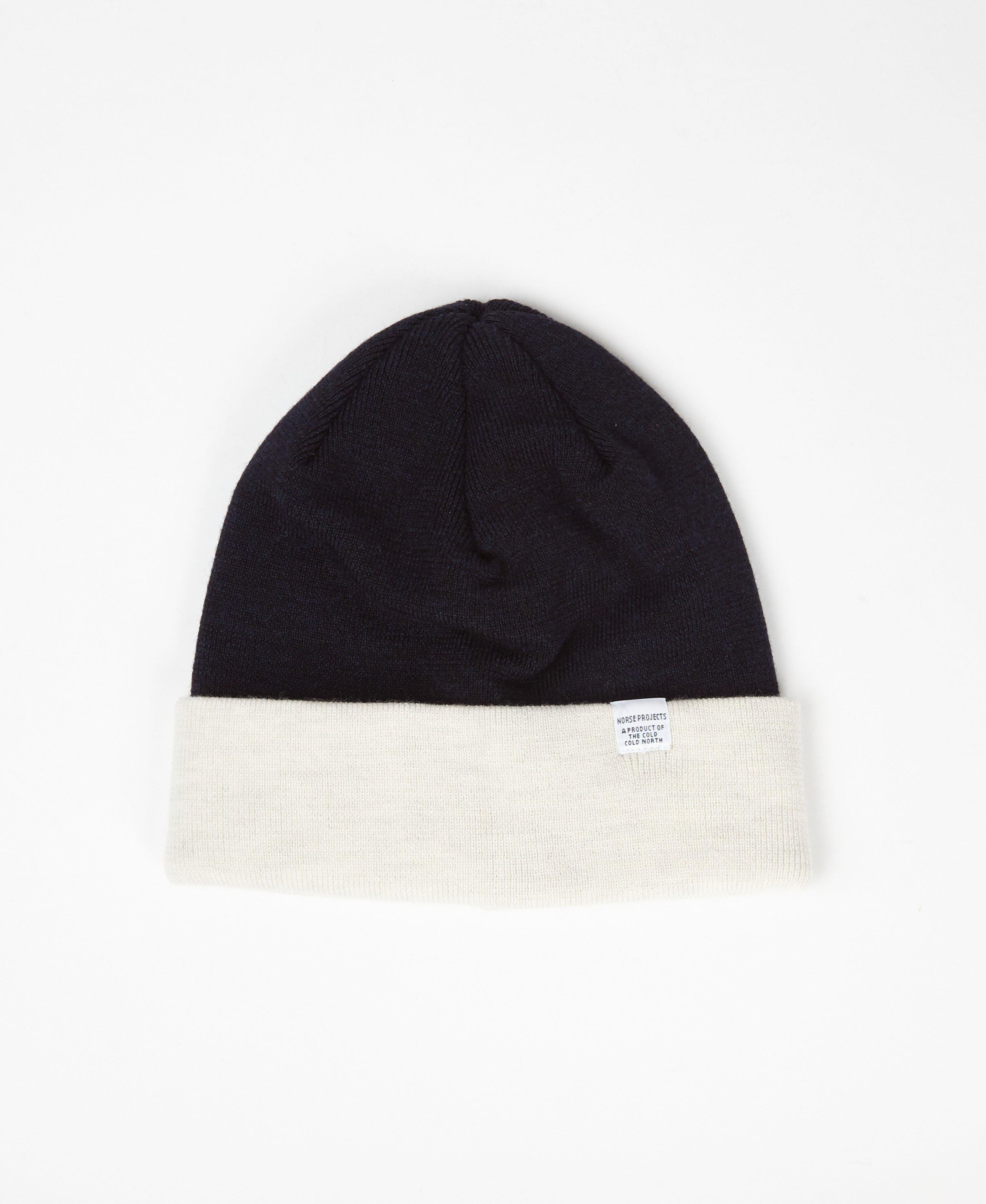 4e5db2156d4 Norse Projects Ecru   Navy Colour Block Beanie in Blue for Men - Lyst
