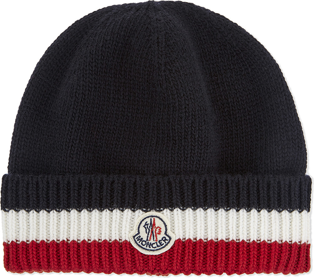 Lyst - Moncler Striped Logo Ribbed Beanie in Blue for Men f5e6a602f29a