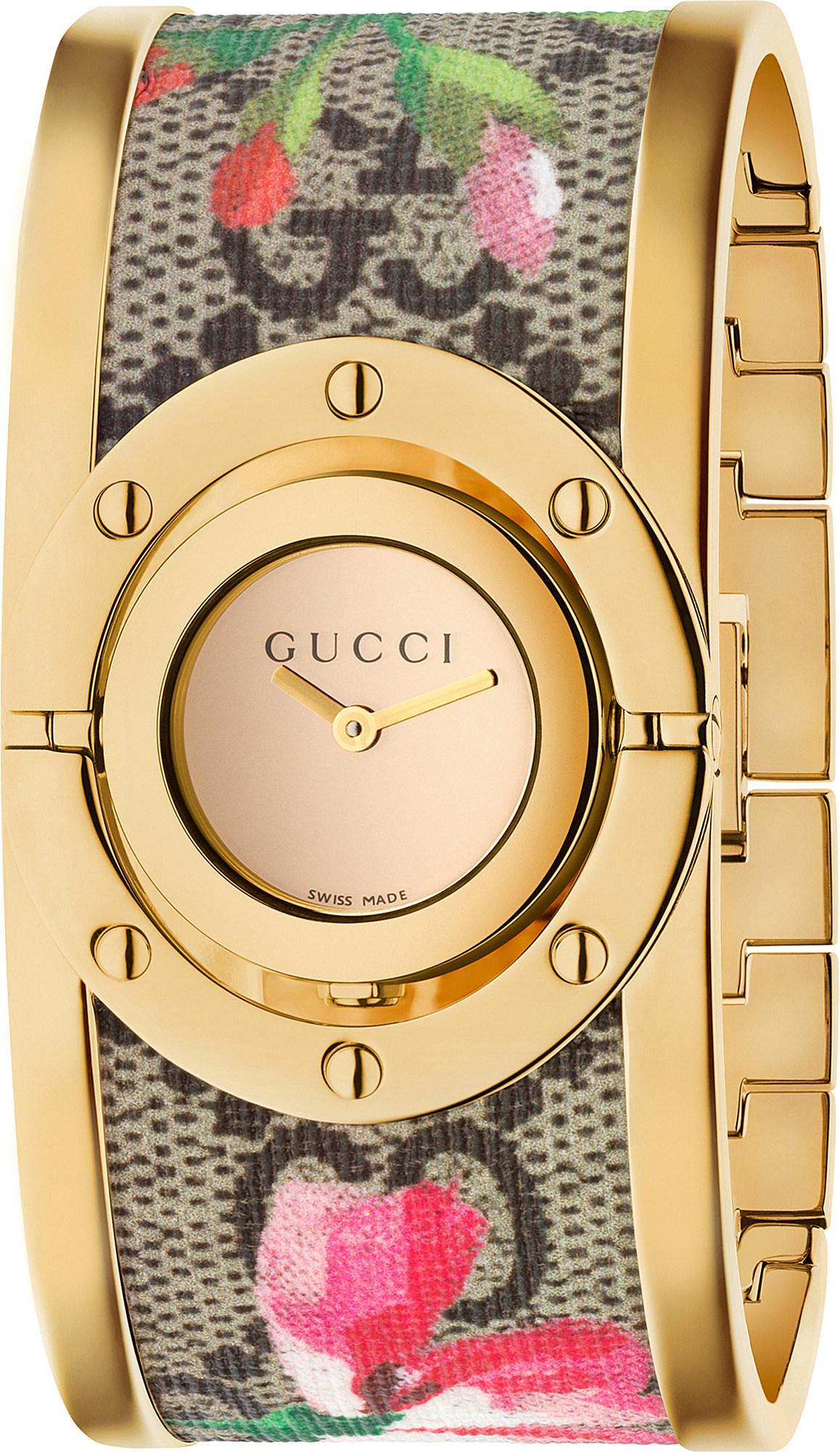 1f6cb988470 Gucci Ya112443 Twirl Gold-plated Sterling Silver And Fabric Quartz ...