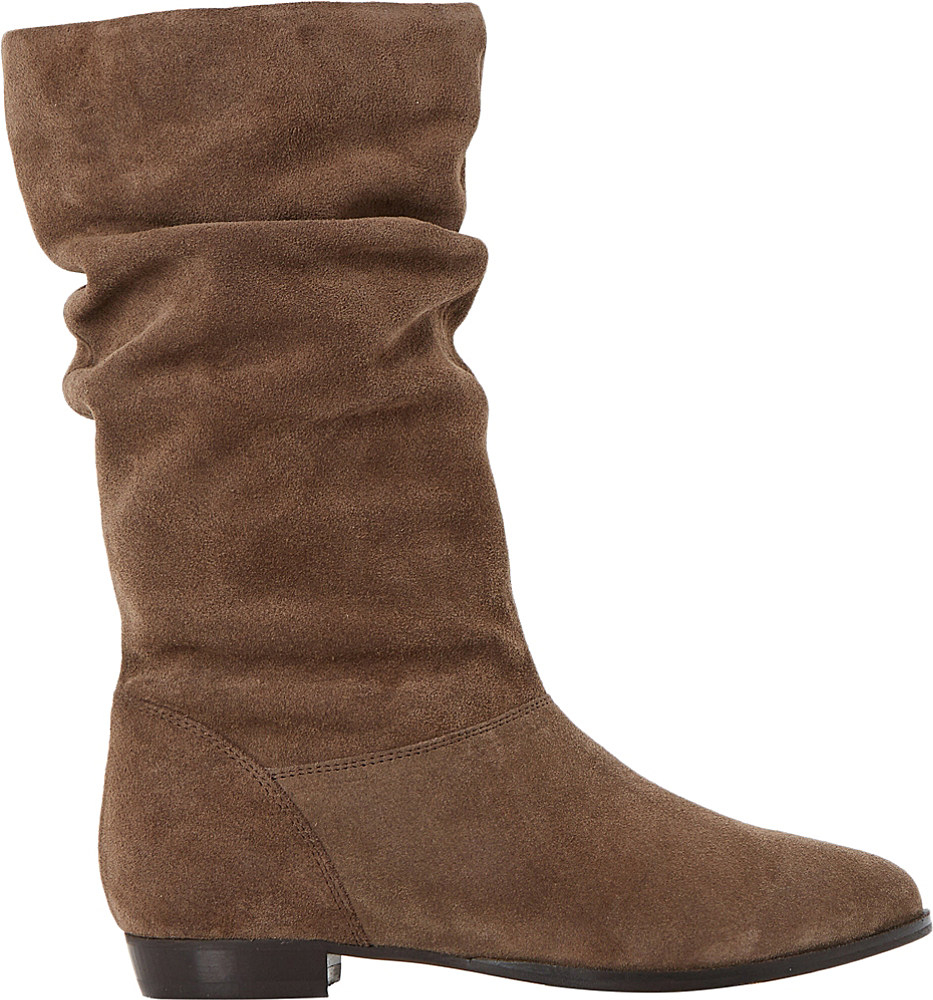 dune relissa slouchy suede boots in brown taupe suede lyst