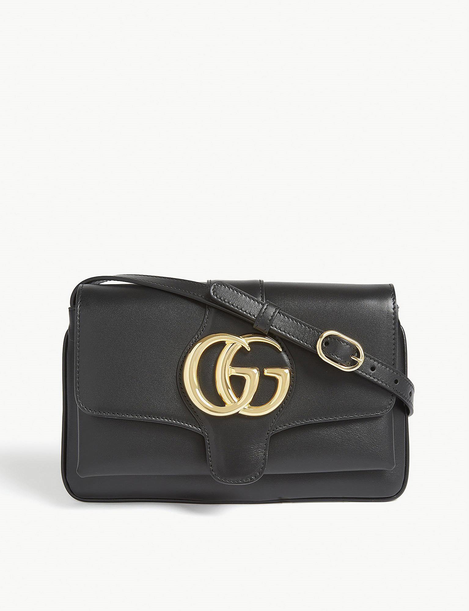 0c96d1ed38 Gucci Leather Shoulder Bag in Black - Lyst