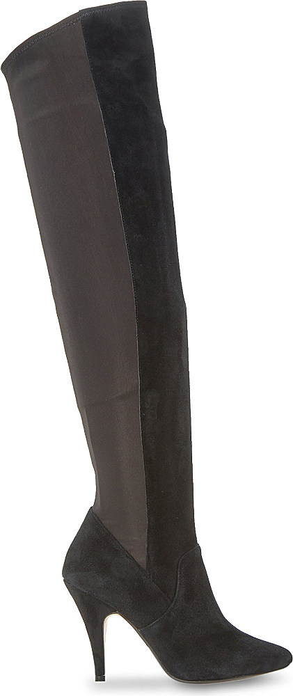 dune stretchy the knee suede boots in black save 64