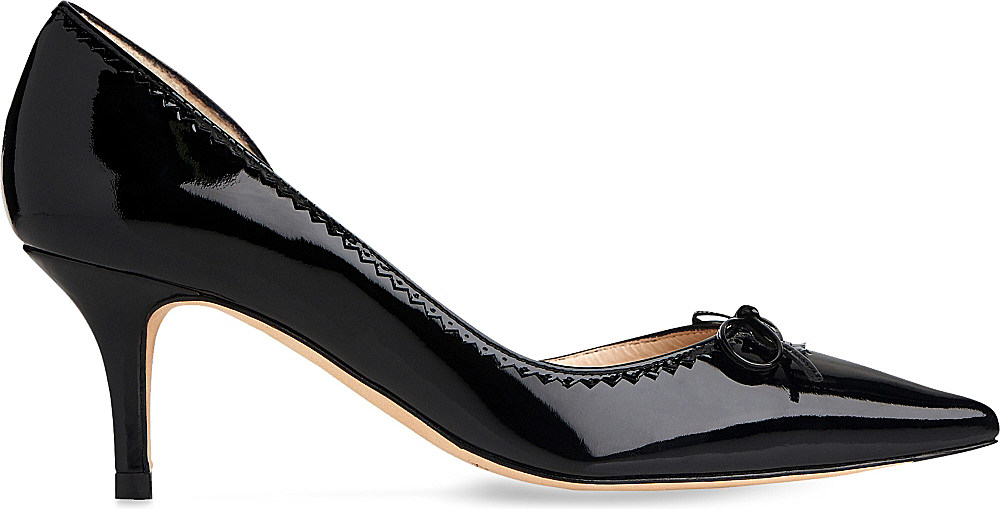 Black Leather Round Toe Court Shoes From Selfridges