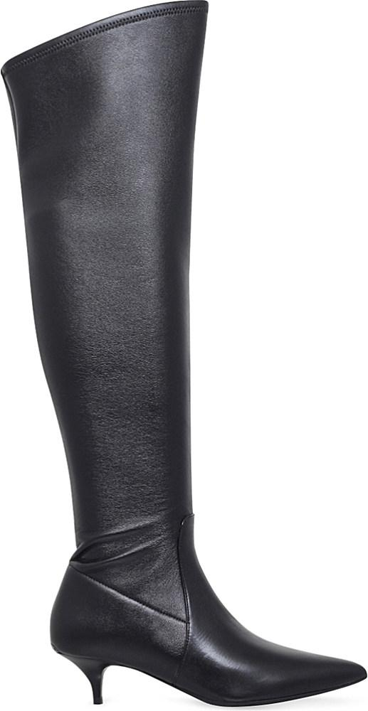 michael michael kors thigh high leather boots in black lyst