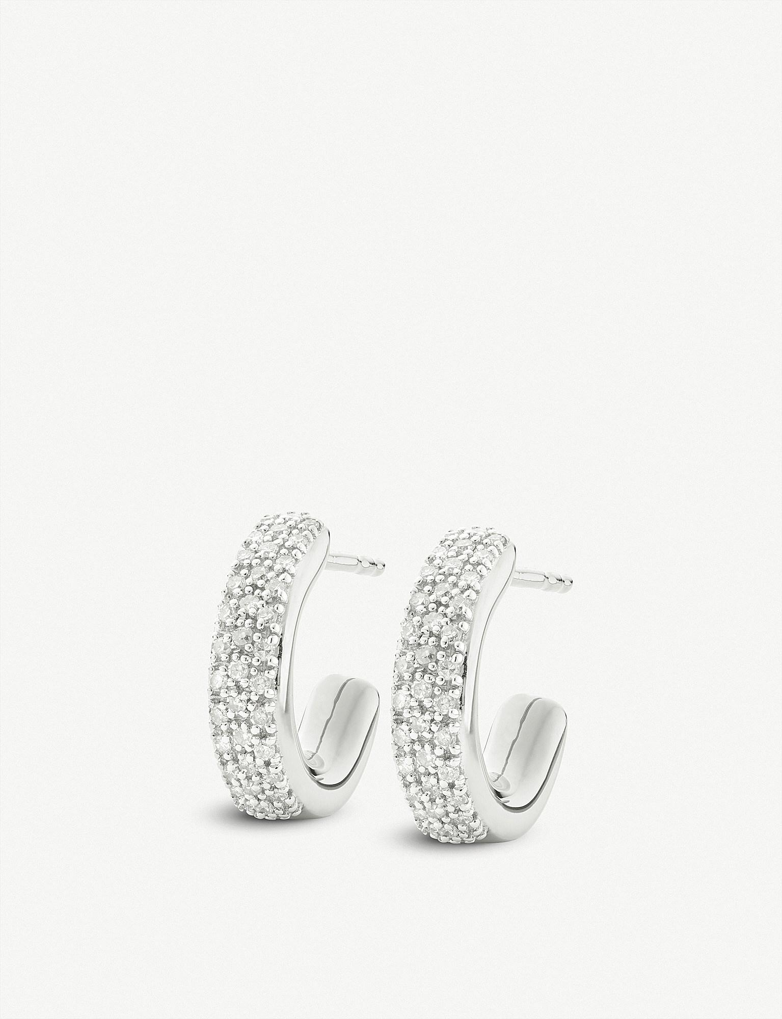 Argent Sterling Fidji Grand Cerceau Boucles D'oreilles En Diamant Diamant Monica Vinader w2MSY