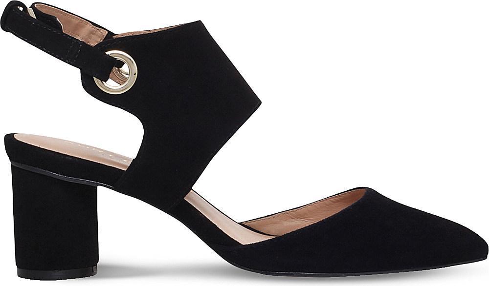 kurt geiger maddox strappy suede court shoes in black lyst