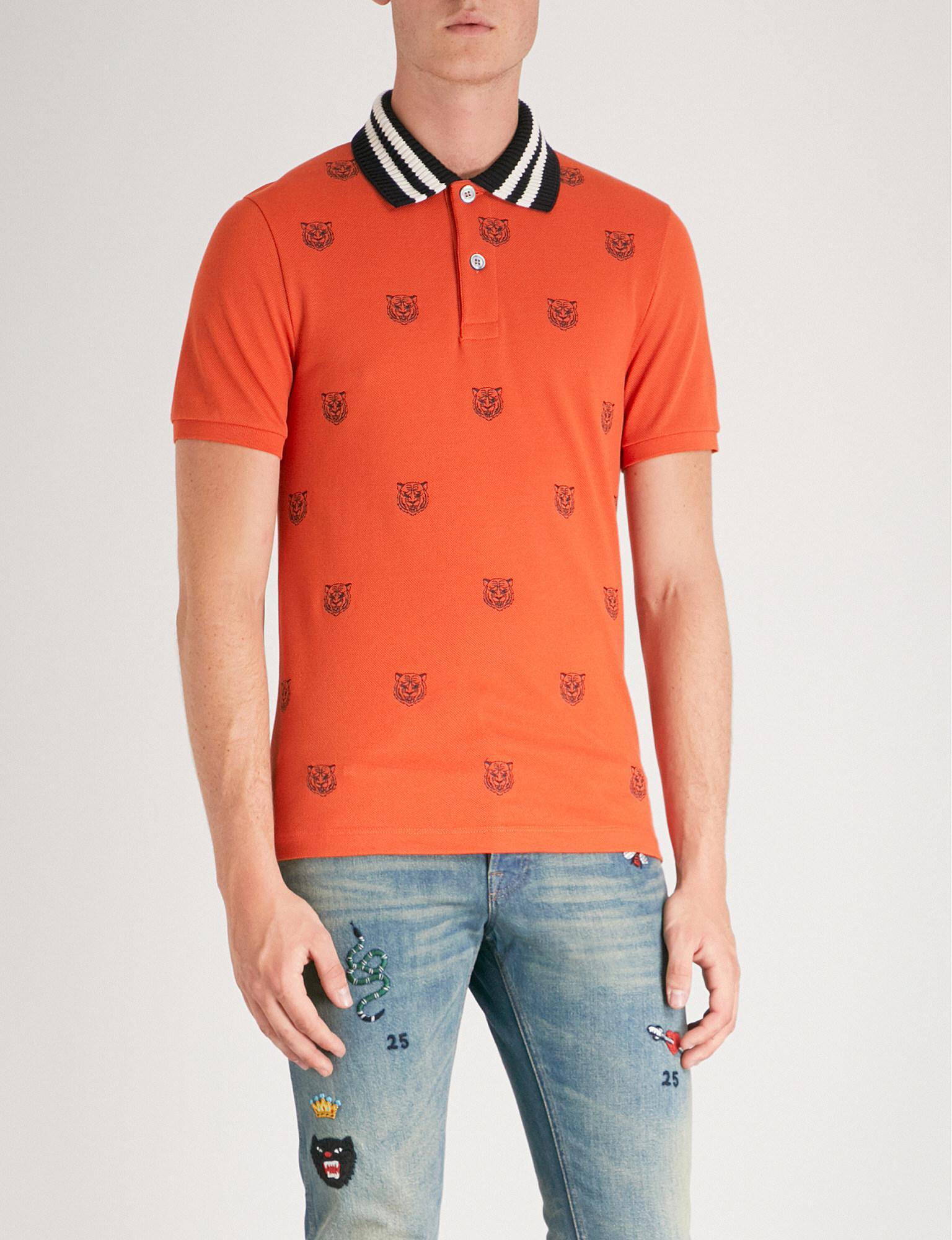 d6ada1cc1 Gucci Tiger-embroidered Slim-fit Cotton-pique Polo Shirt in Orange ...