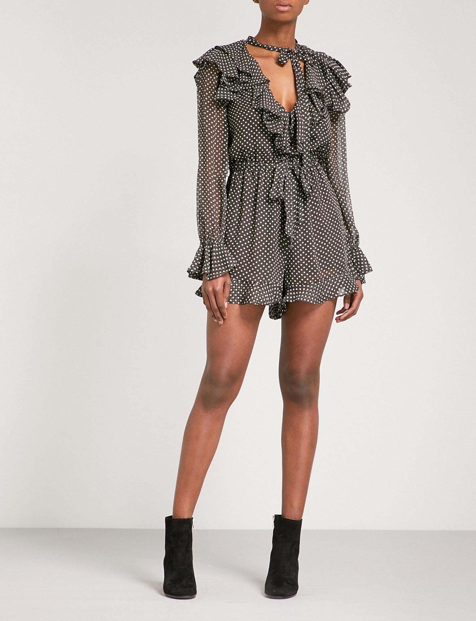b3e52c7141 Lyst - Zimmermann Painted Heart Cascade Silk-chiffon Playsuit in Gray