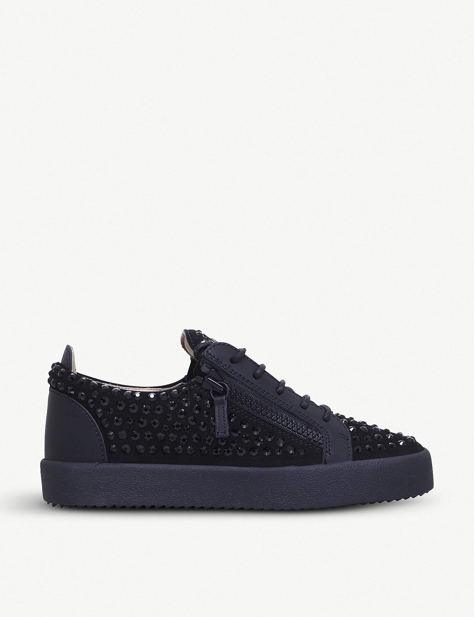 4908837a4b3dc Giuseppe Zanotti - Black Doris Crystal-embellished Leather Low-top Trainers  for Men -. View fullscreen