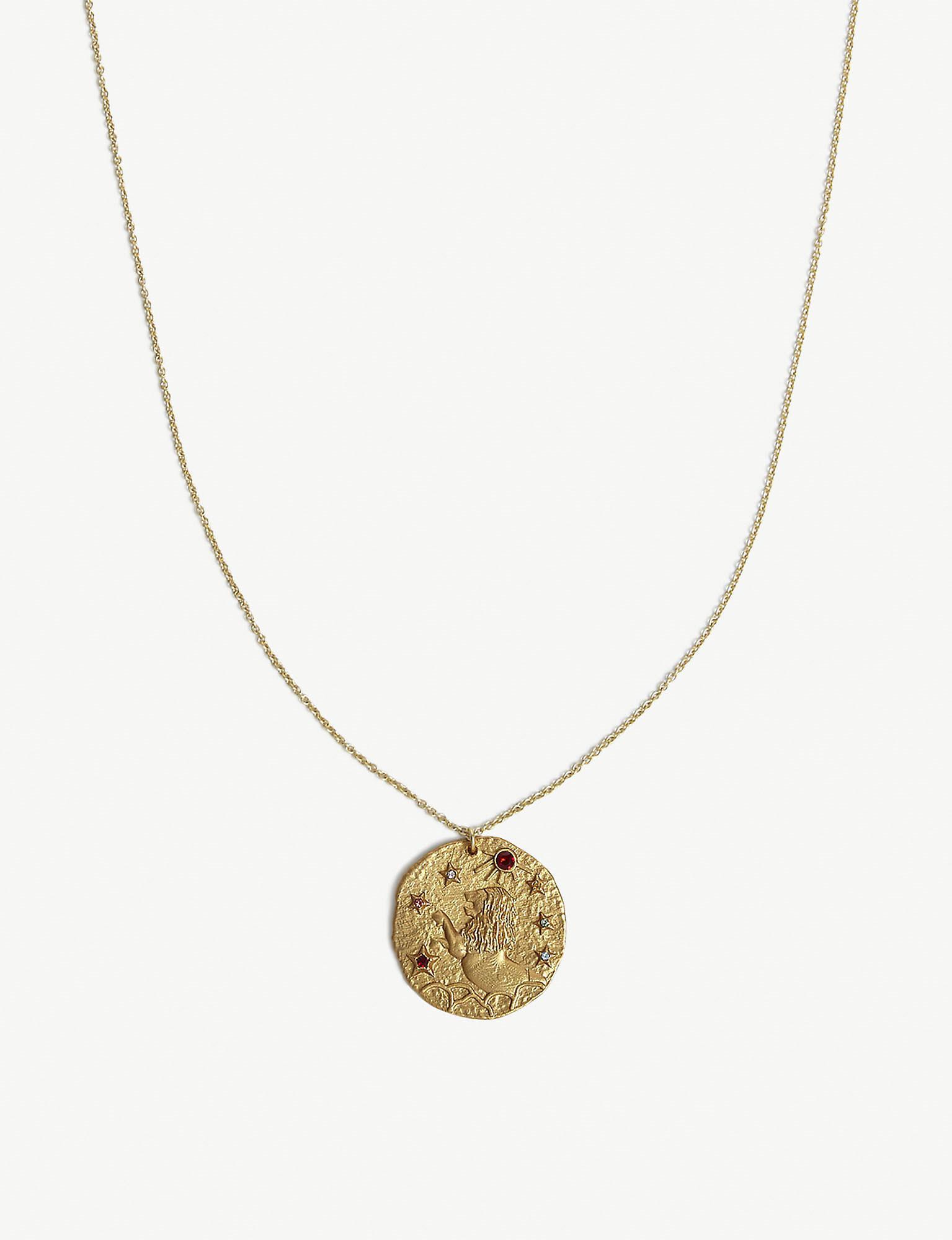 995f2c6b6 Maje Lion Leo Zodiac Brass Coin Necklace in Metallic - Lyst