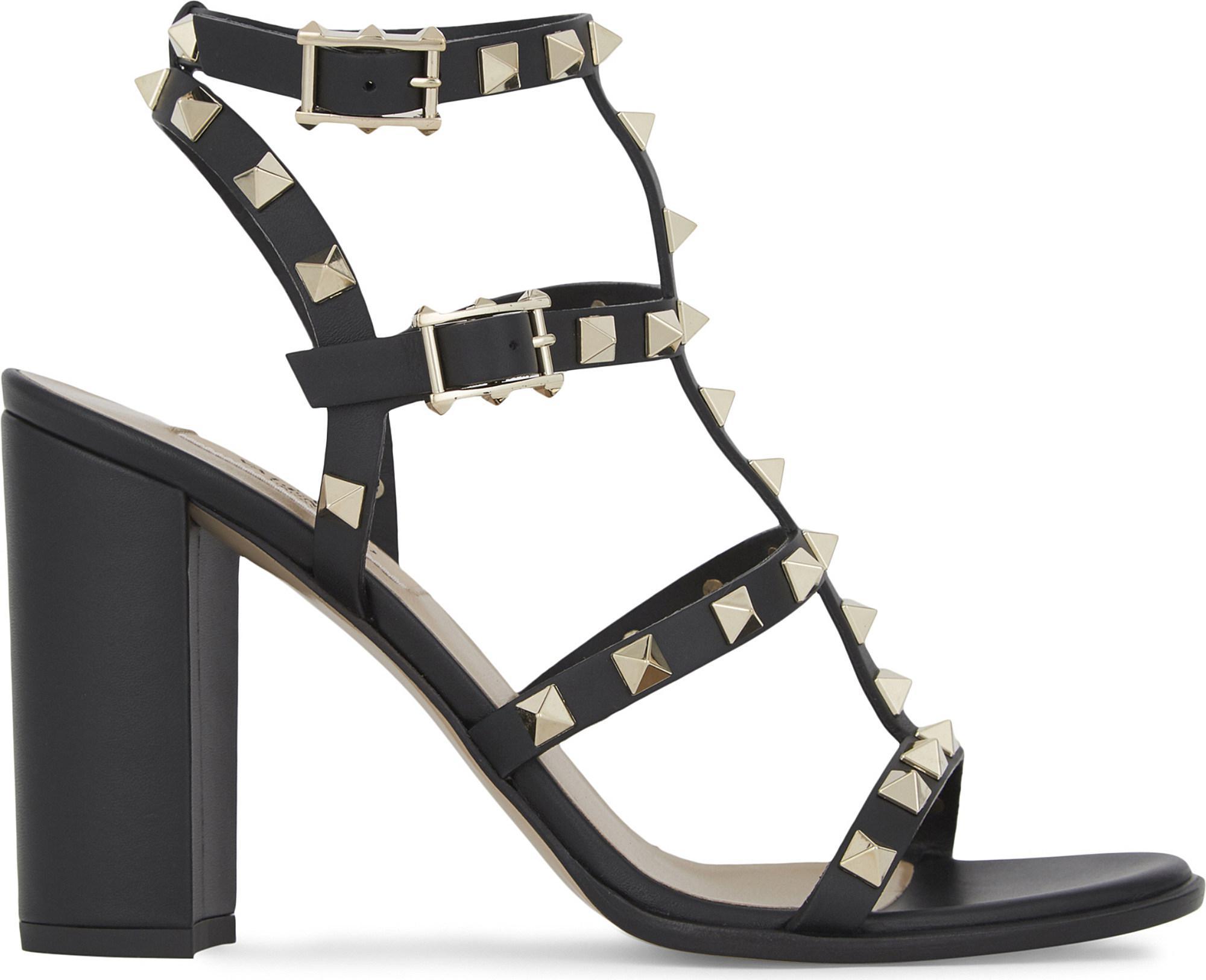 9cf901c2cb92f Lyst - Valentino Rockstud 90 Leather Heeled Sandals in Black - Save 22%