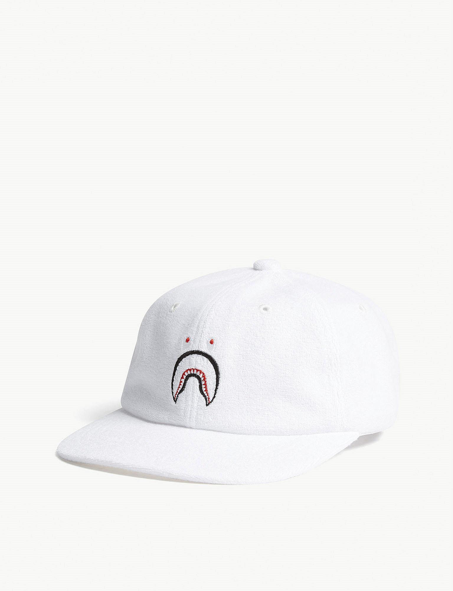 e1a35083233 A Bathing Ape Shark Face Terrycloth Cap in White for Men - Lyst