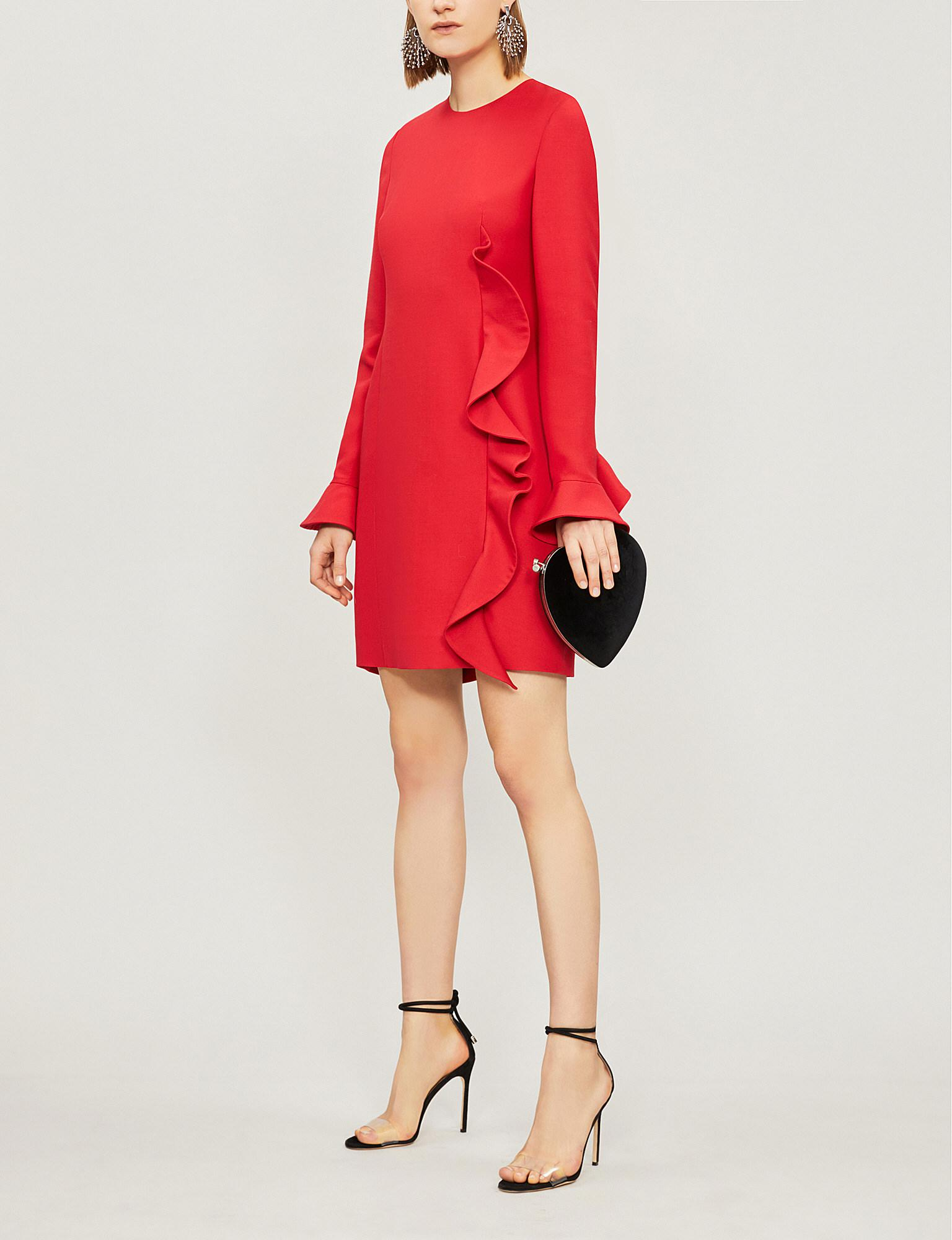 40035bde Lyst - Valentino Ruffle Wool And Silk-blend Dress in Red