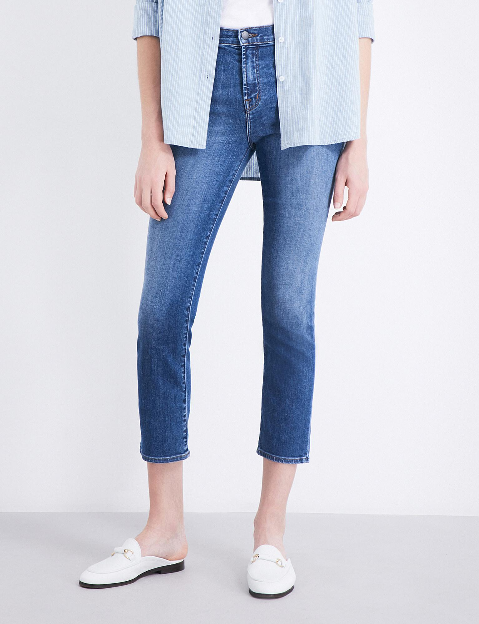 3a6c4f30ea8c Lyst - J Brand Ruby Straight Cropped High-rise Jeans in Blue
