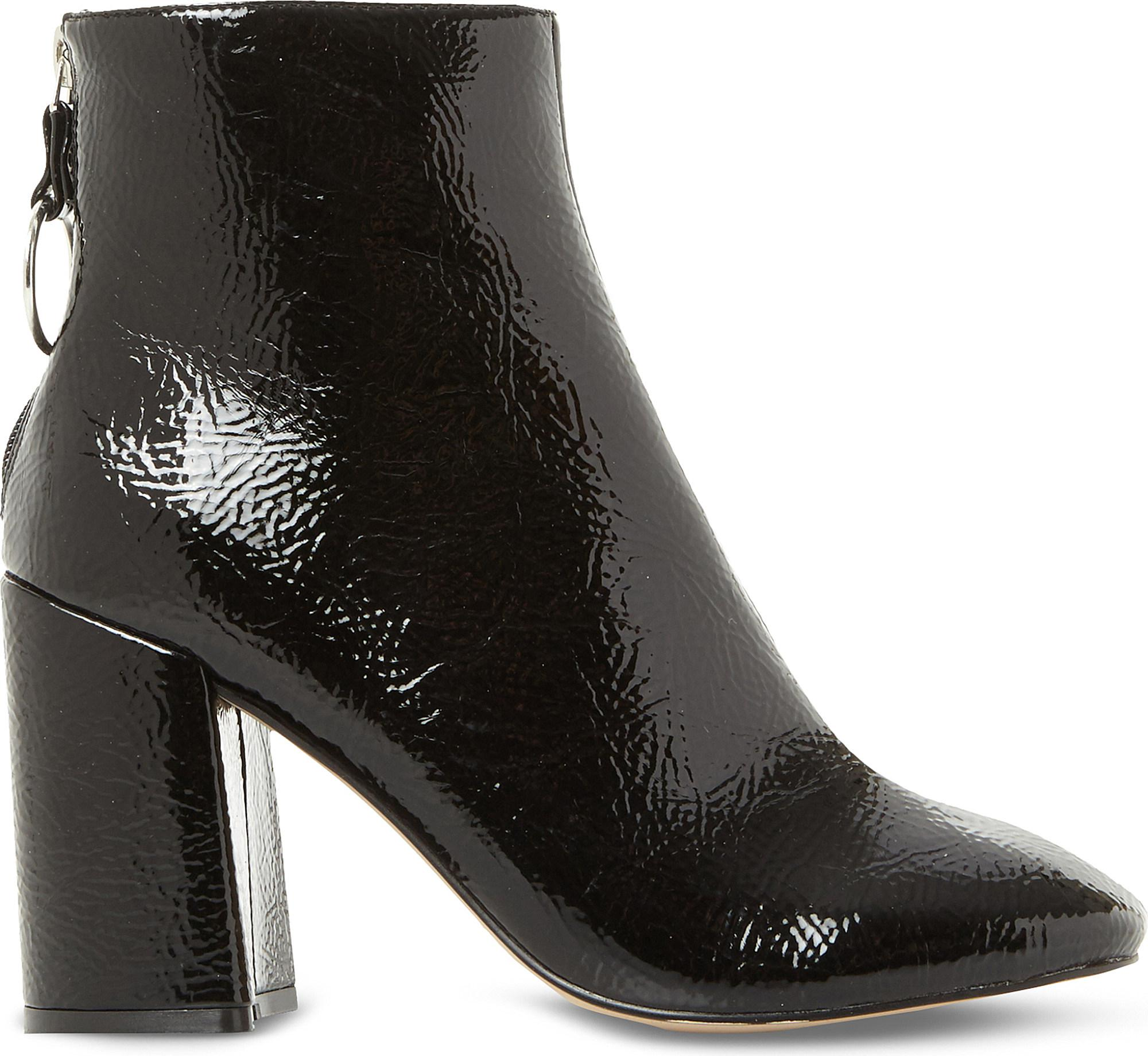 563f9bb59a94 Lyst - Steve Madden Posed Patent-effect Heeled Ankle Boots in Black