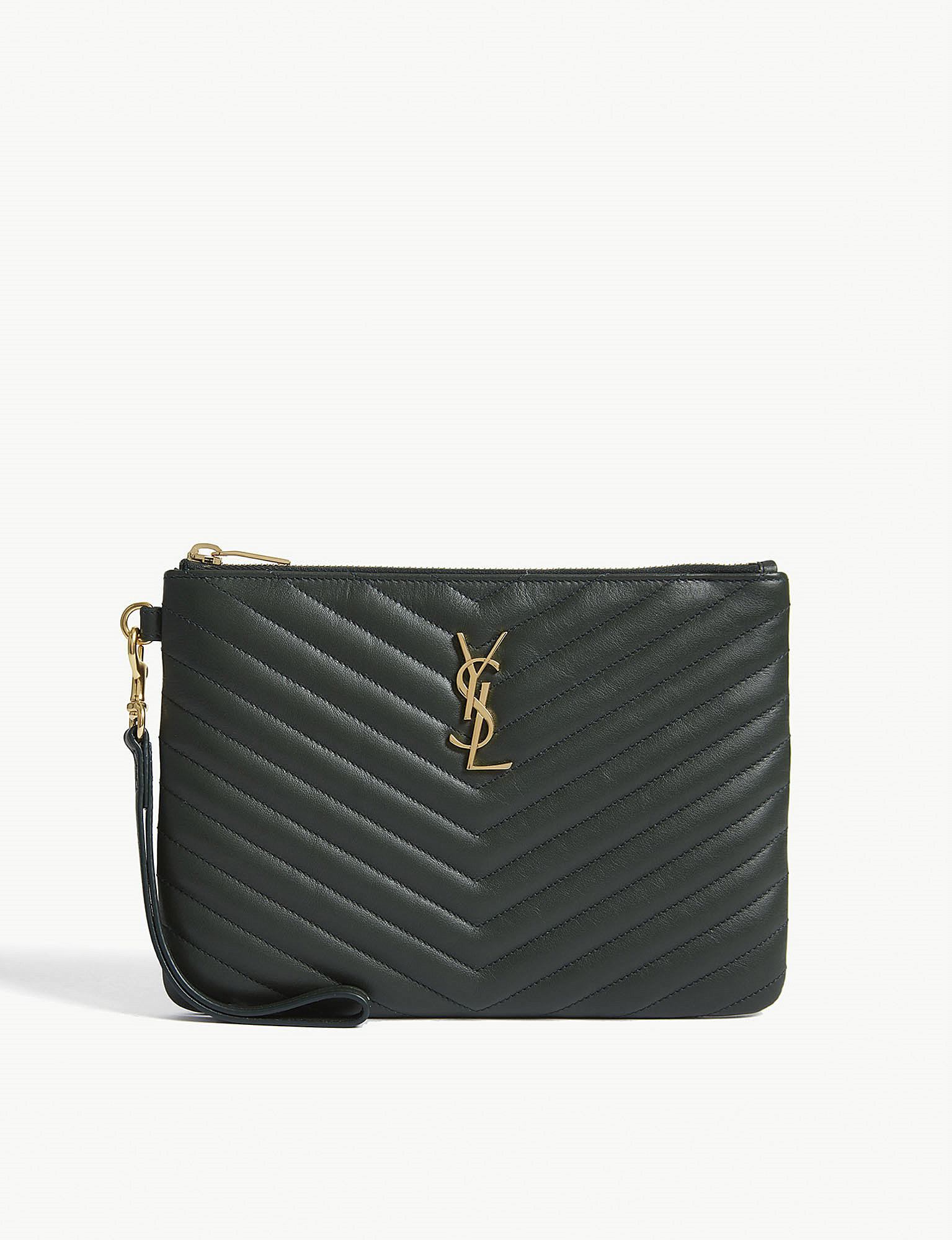 Saint Laurent green monogram small quilted leather pouch Reliable CRyWZFo3k