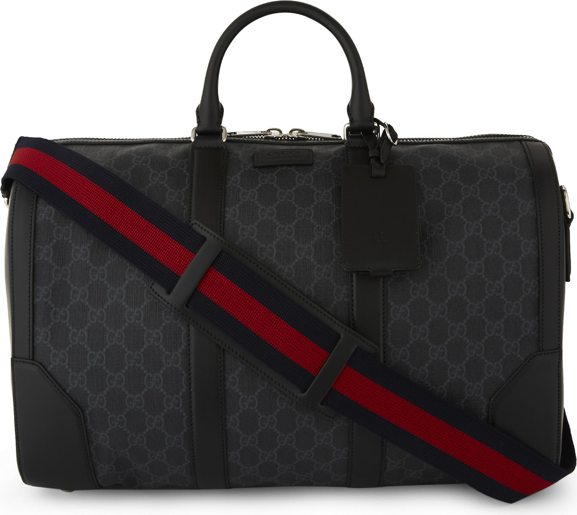 1bfe6da16c40 Gucci Mens Iconic Supreme Canvas And Leather Duffle Bag in Black for ...