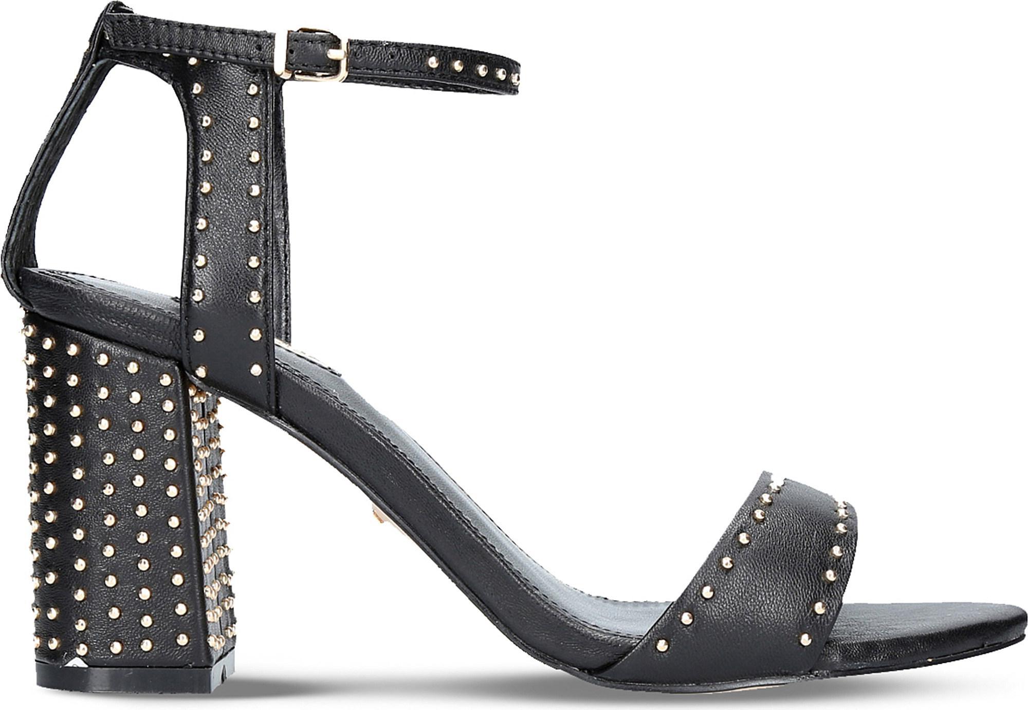 Carvela Kurt Geiger  Women's Black Gogo Leather Block Heel Sandals