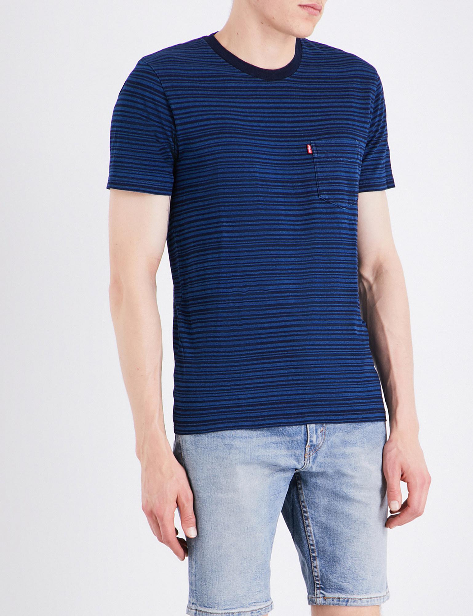 Levi's. Men's Blue Sunset Striped Cotton-jersey T-shirt