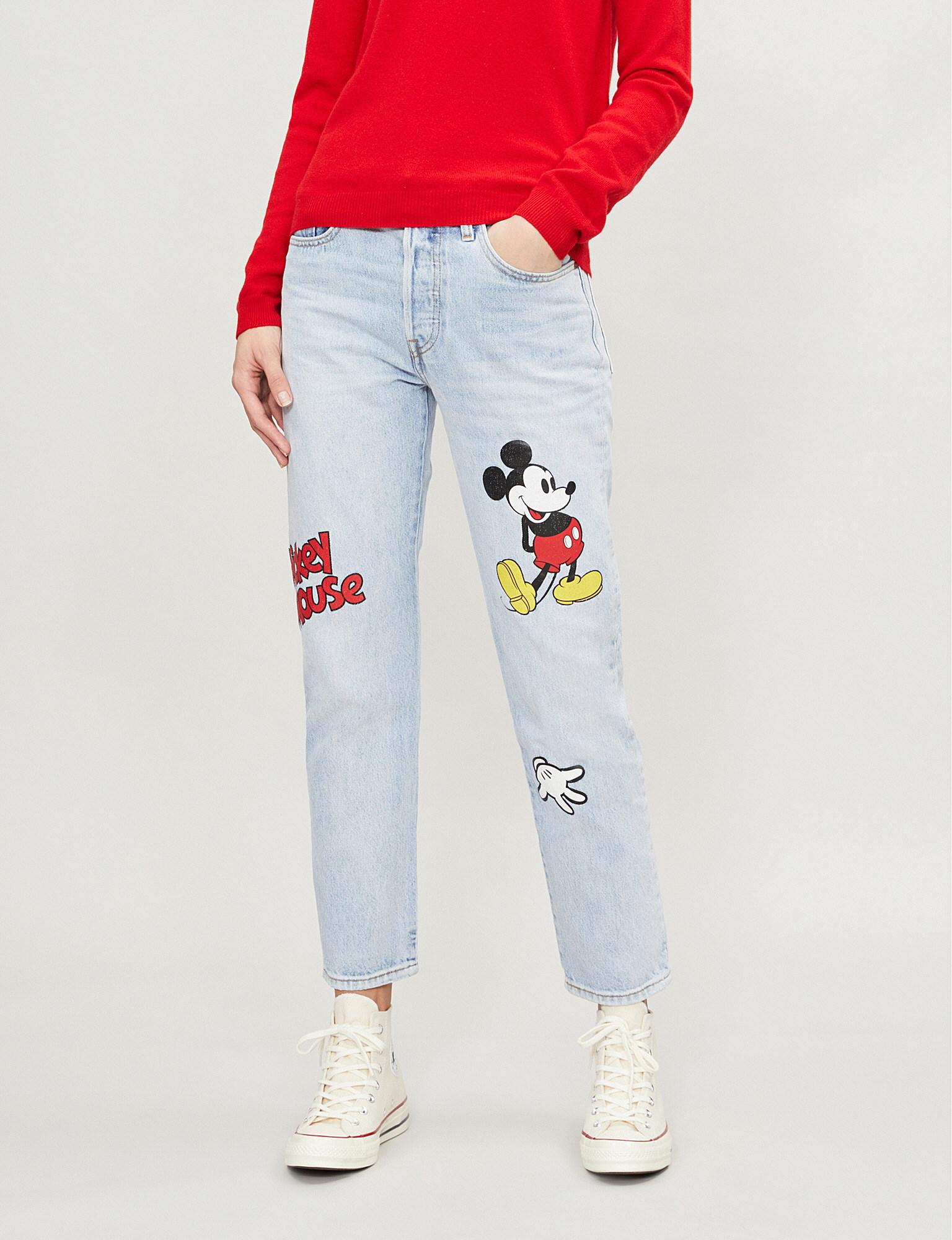 2cb4435c Levi's X Mickey Mouse 501 Straight Cropped Mid-rise Jeans in Blue - Lyst