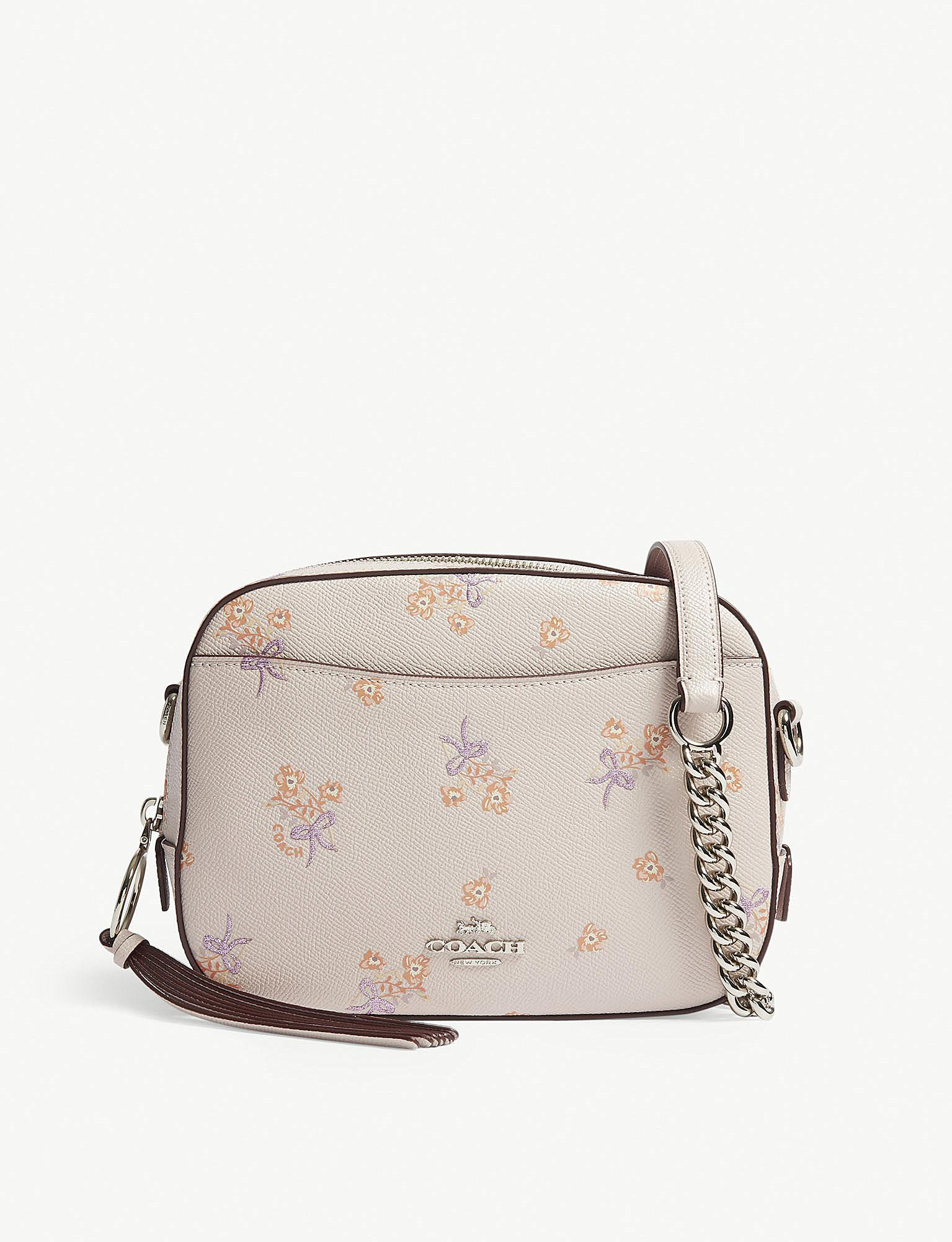 COACH. Women s Ladies Ice Pink Floral Elegant Leather Camera Cross-body Bag 702a533020ab8