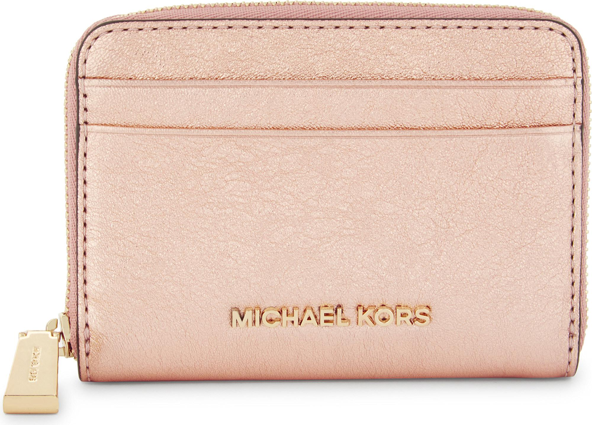 688b00dba52e MICHAEL Michael Kors Crackled Leather Zip-around Card Case in Pink ...
