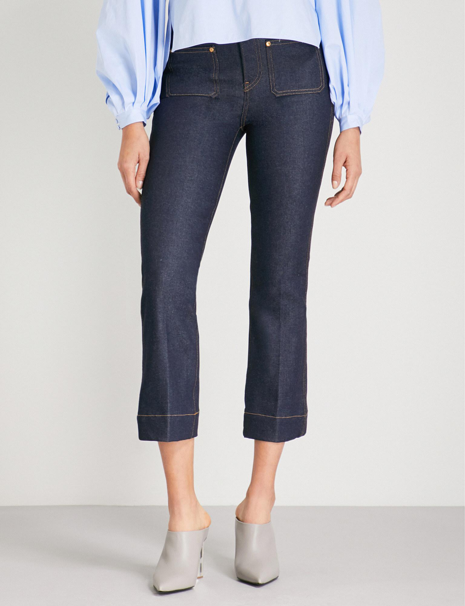 Raquel Cropped High-rise Flared Jeans - Blue Khaite tLuWotDc