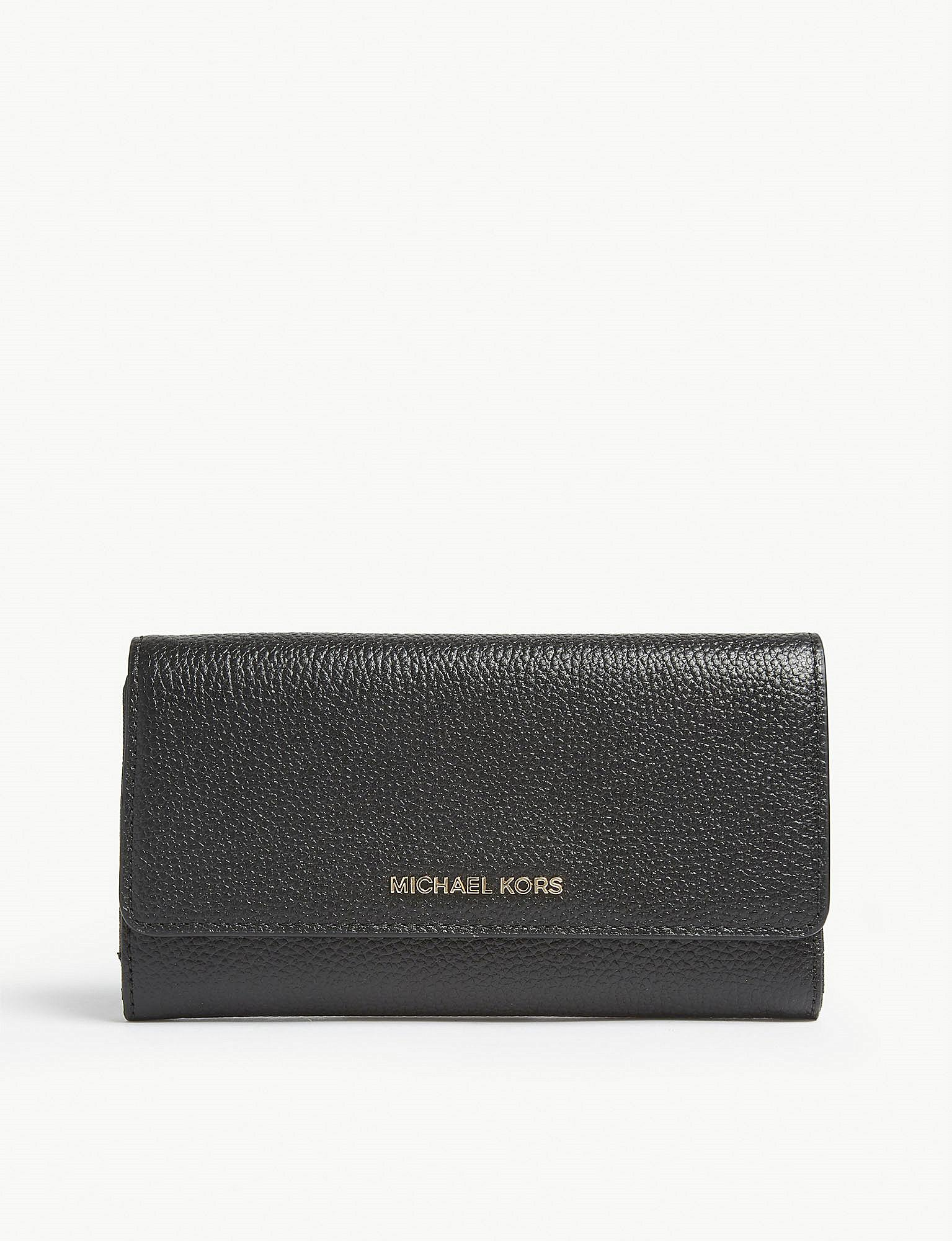 0d3bbeab4c6191 Lyst - Michael Michael Kors Mercer Leather Tri-fold Wallet in Black