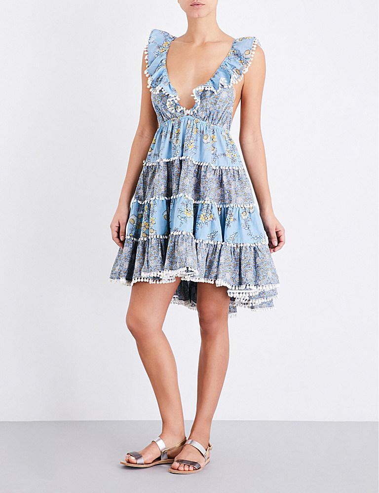 76e6f05a82e Zimmermann Caravan Tiered Cotton Sun Dress in Blue - Lyst
