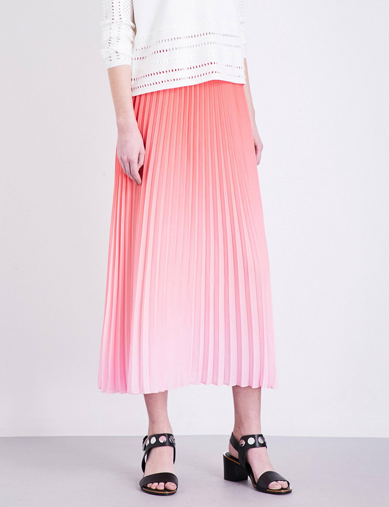 7730ddd4ee Lyst - Maje Jonaelle Chiffon Midi Skirt in Pink