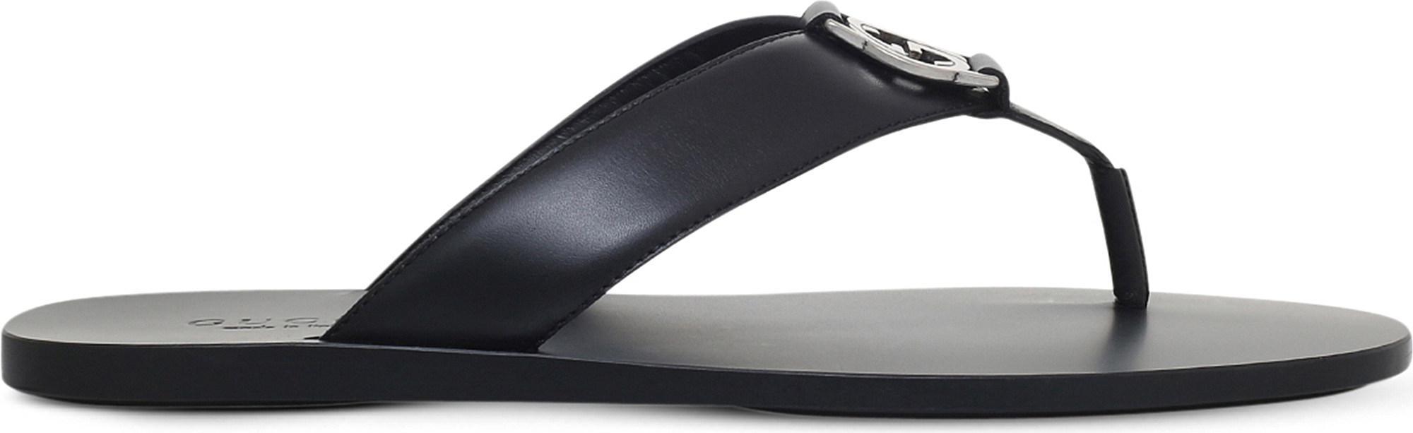 4f828a4a671b Lyst - Gucci Logo Leather Flip-Flops in Black