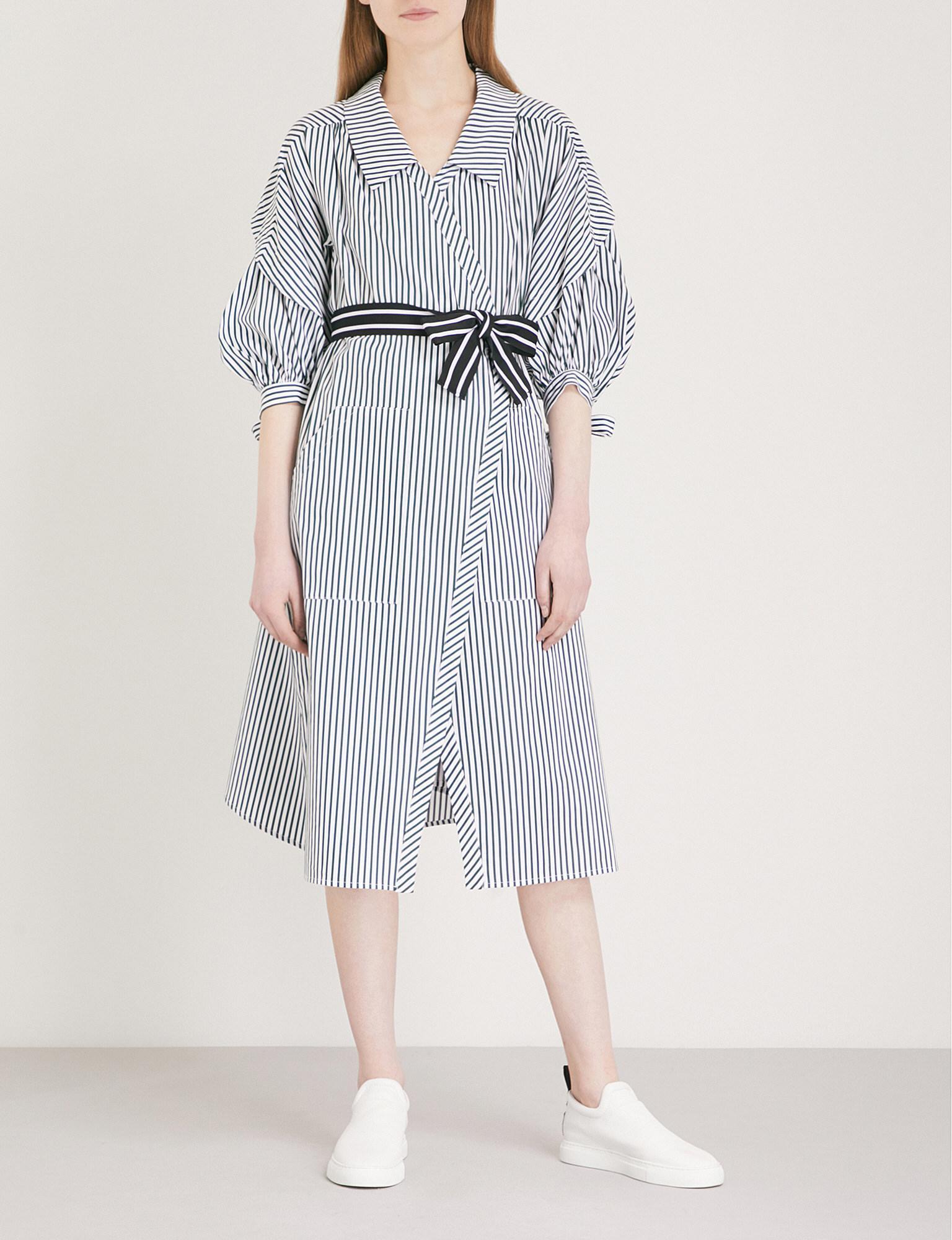 4e8903627f5 Maje Rilucci Striped Cotton Shirt Dress in Blue - Lyst