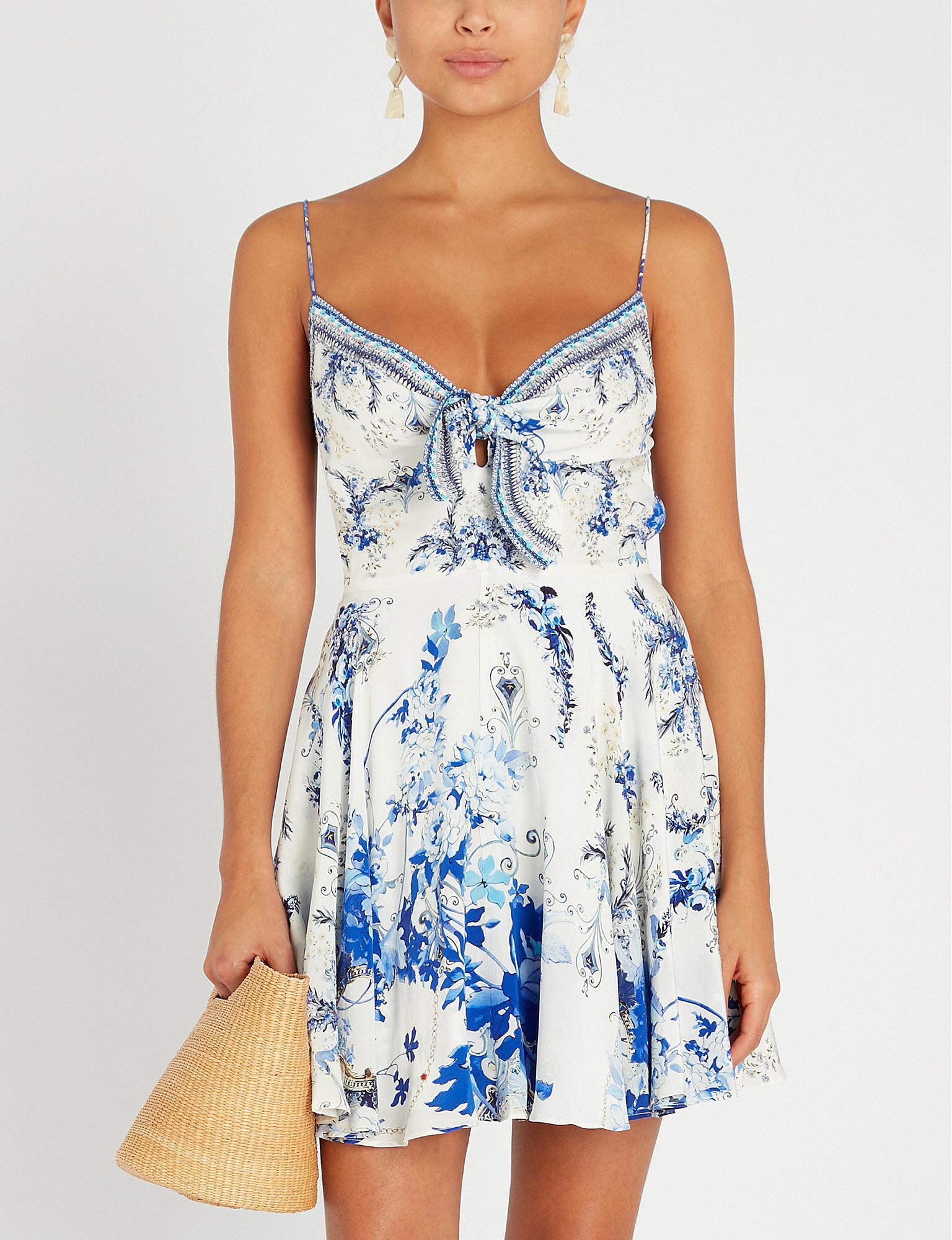 eb9646dd80e Lyst - Camilla Saint Germaine Floral-print Silk Mini Dress in Blue