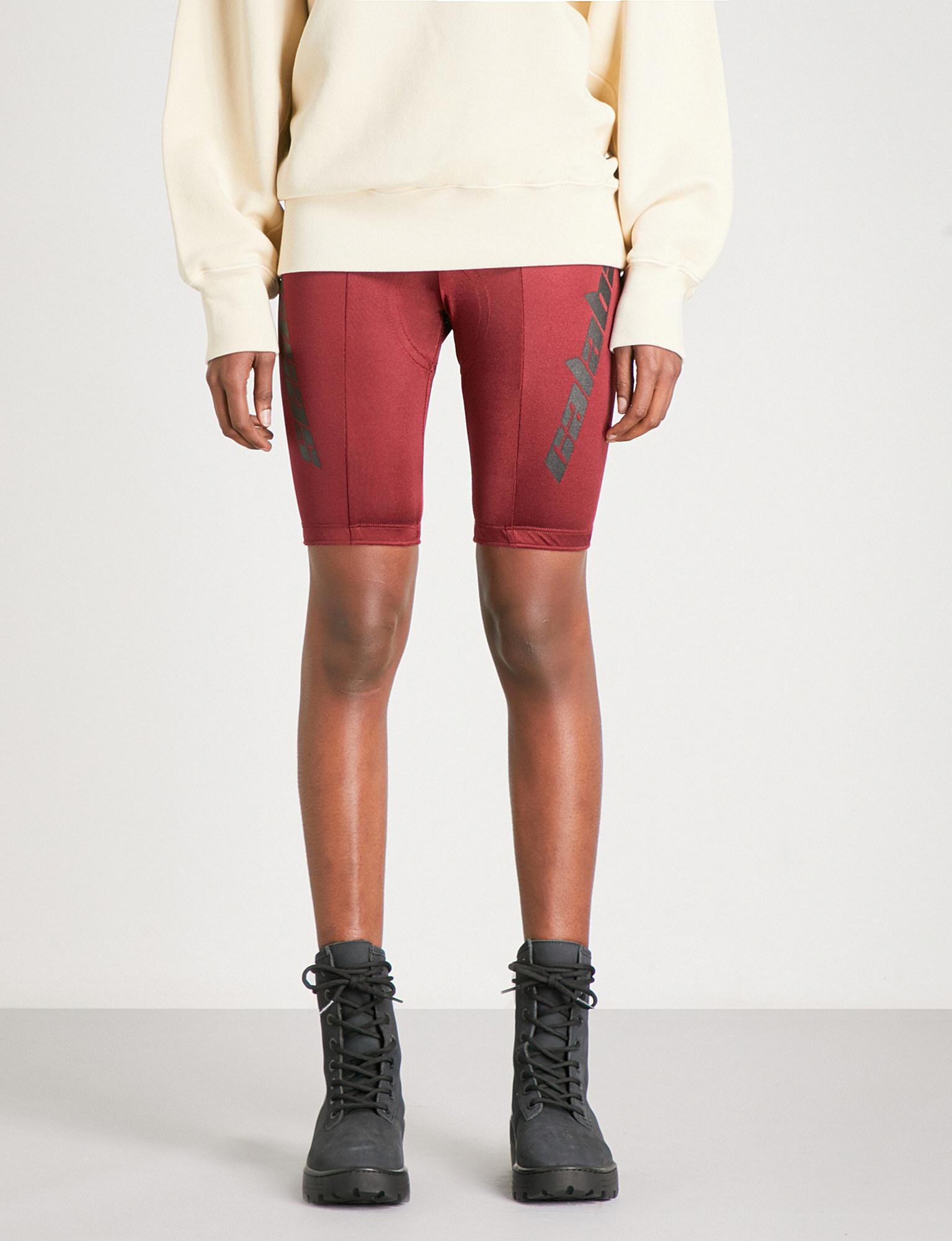 4f042535e Lyst - Yeezy Season 5 Satin-jersey Bike Shorts in Red