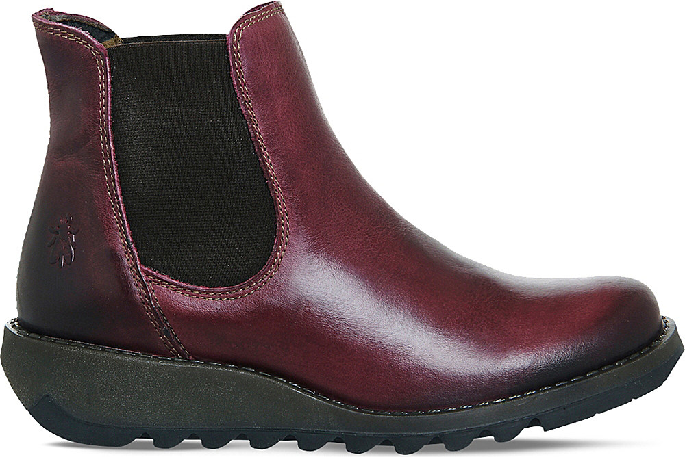 fly salv leather wedge boots in purple lyst