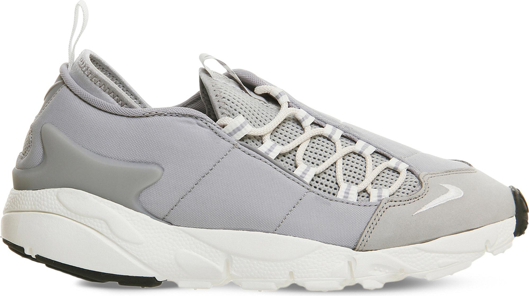 Discount Nike Wolf Grey White Air Footscape Leather And Mesh Trainers for Women Sale