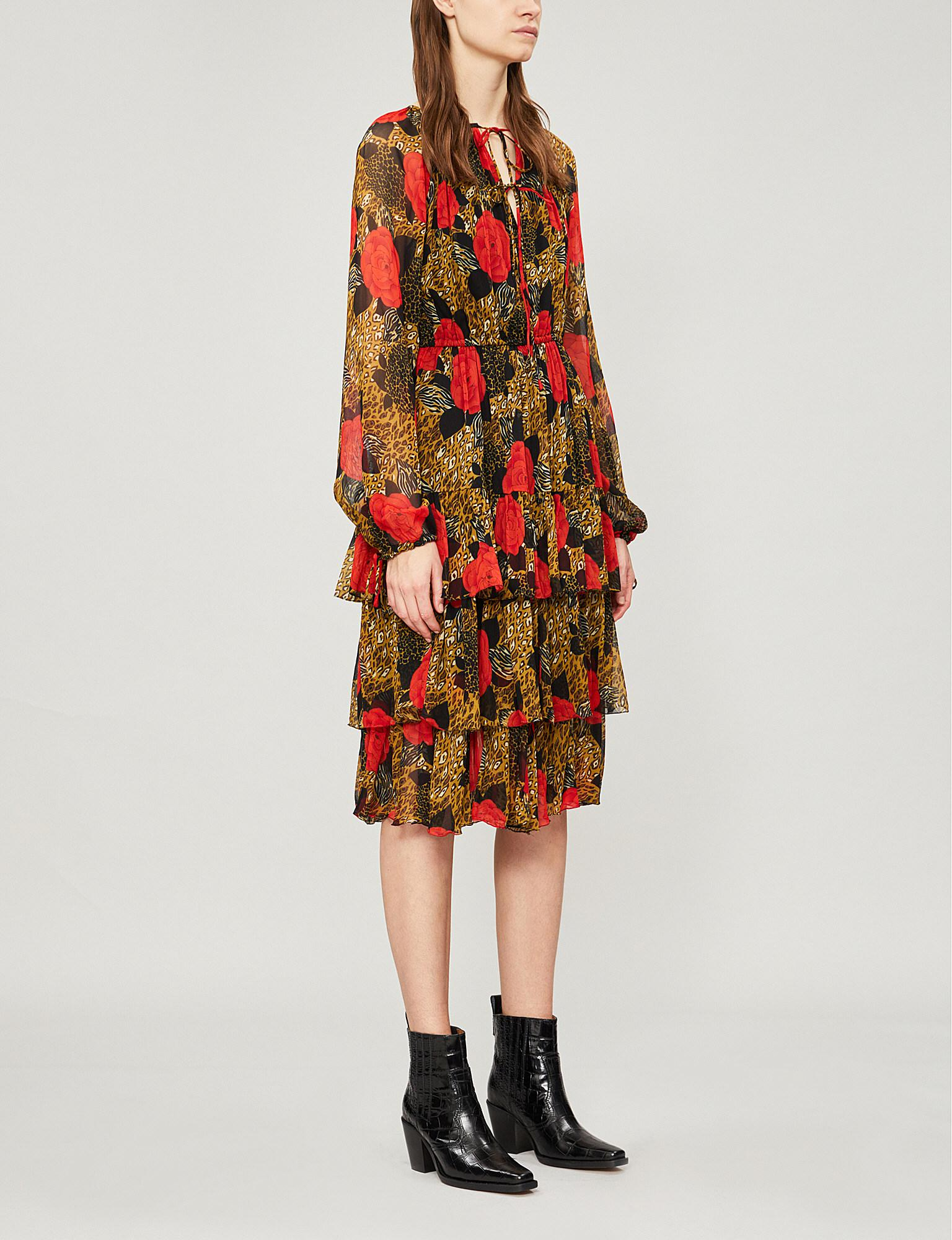 acb32be456 Lyst - The Kooples Frilled Crepe Dress in Red