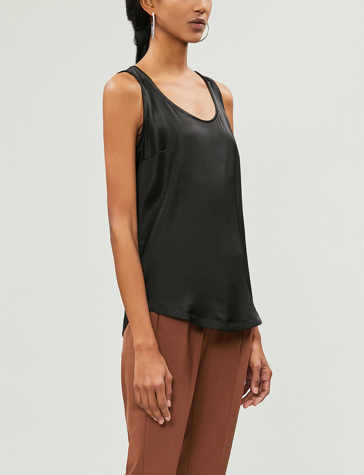 04036abfe8fc6 Brunello Cucinelli. Women s Black Bead-embellished Stretch-silk Vest Top