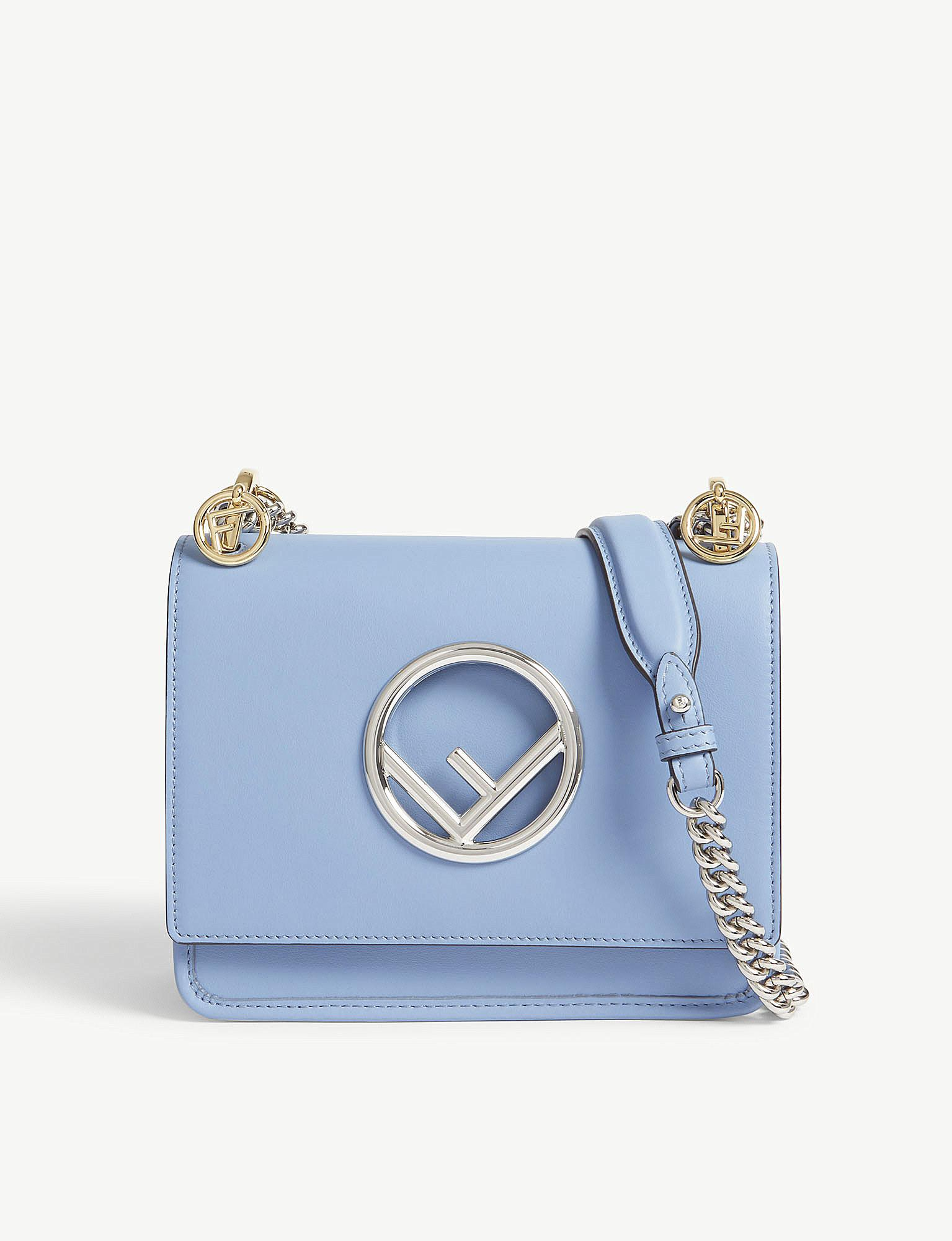 3f9fe1afd9 Lyst - Fendi Kan I Small Leather Cross-body Bag in Blue