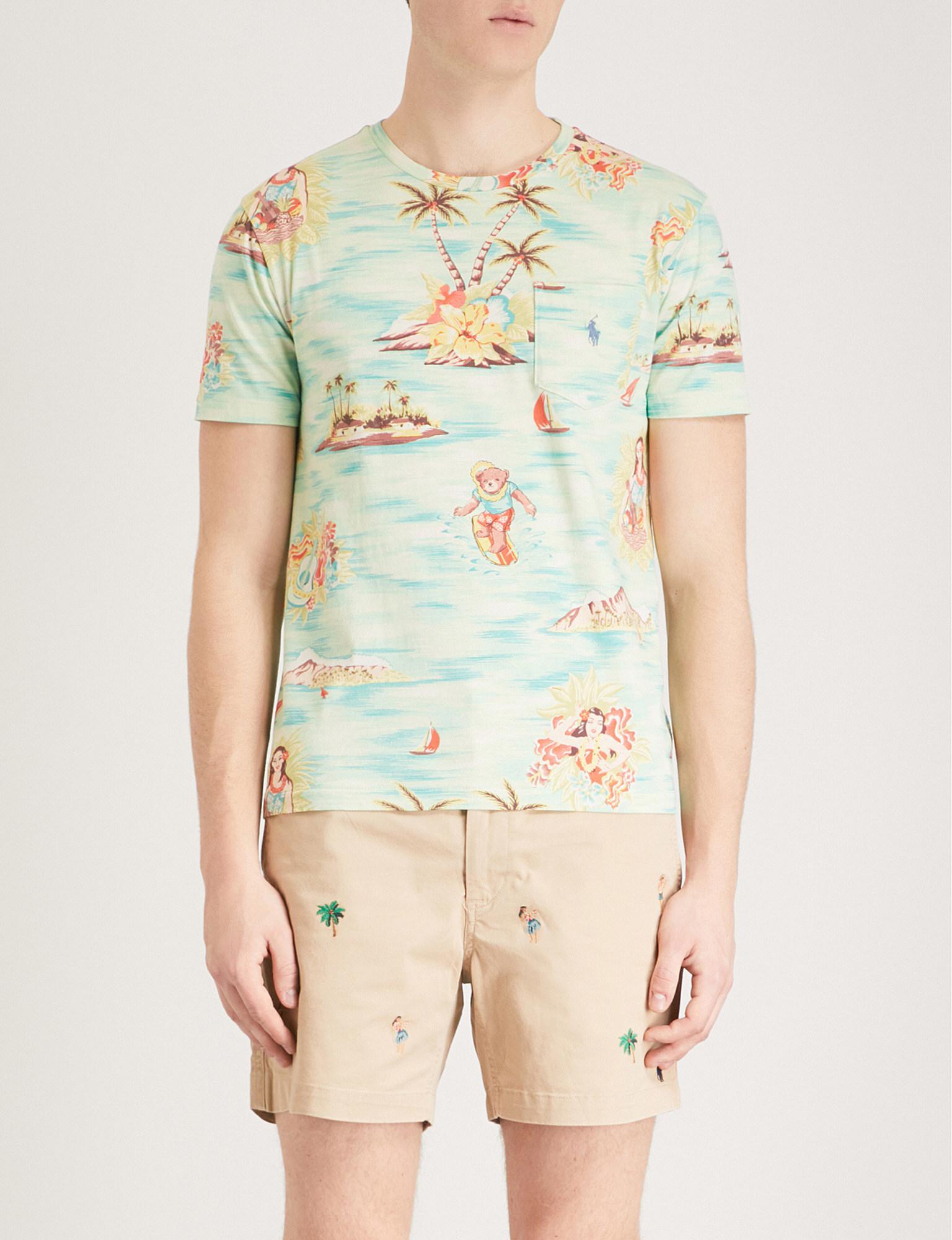 e291cca2e Polo Ralph Lauren Hawaiian-print Cotton-jersey T-shirt for Men - Lyst