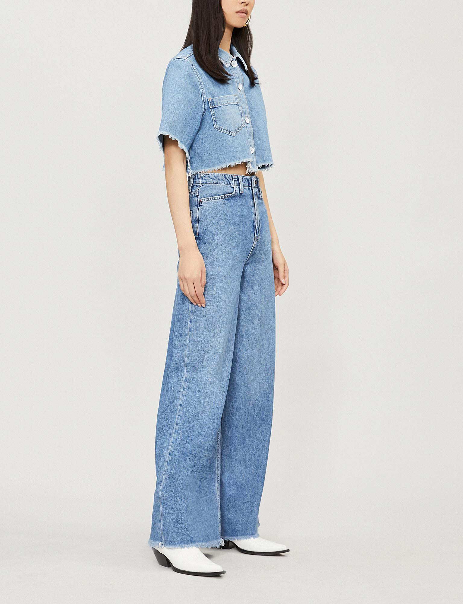 bac6a55315c37 Lyst - Free People Dust In The Wind Denim Co-ord Set in Blue