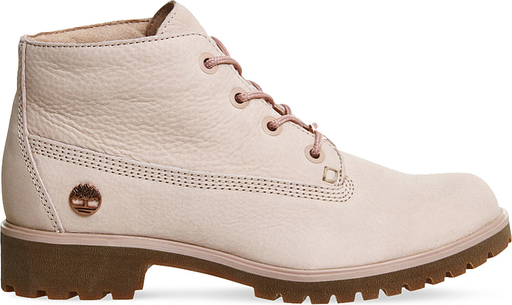 Timberland Slim Nellie Nubuck Leather Chukka Boots In Pink