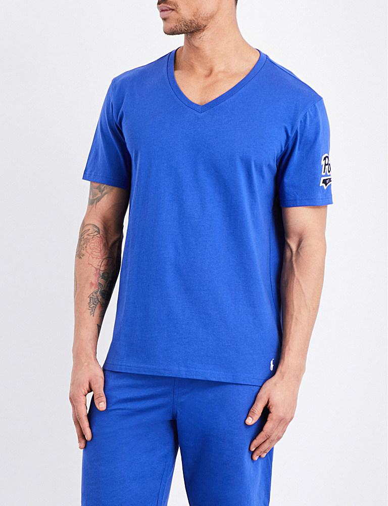 Polo Ralph Lauren Classic V Neck Cotton Jersey T Shirt In