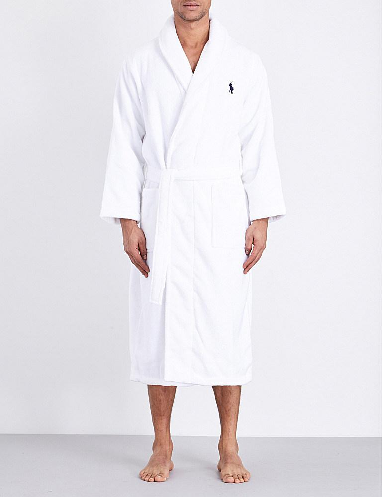 Lyst - Polo Ralph Lauren Logo-embroidered Terry-cotton Robe in White ... 588f0703f