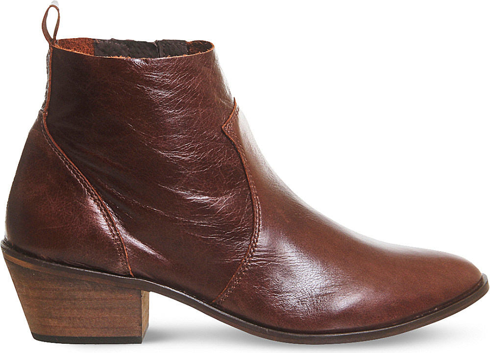 office leigh leather ankle boots in brown save 19 lyst