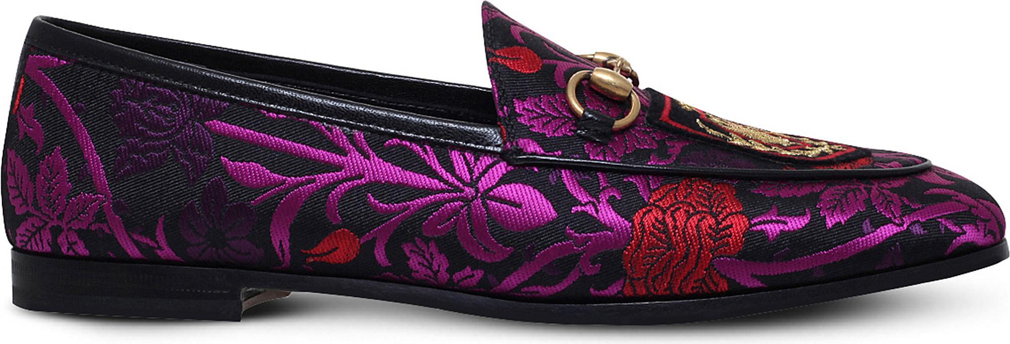 98a3f98db96 Lyst - Gucci New Jordaan Jacquard Loafers in Purple