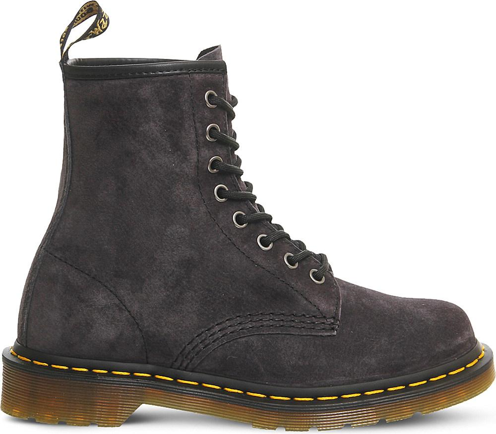 dr martens 8 eyelet suede boots in gray for lyst