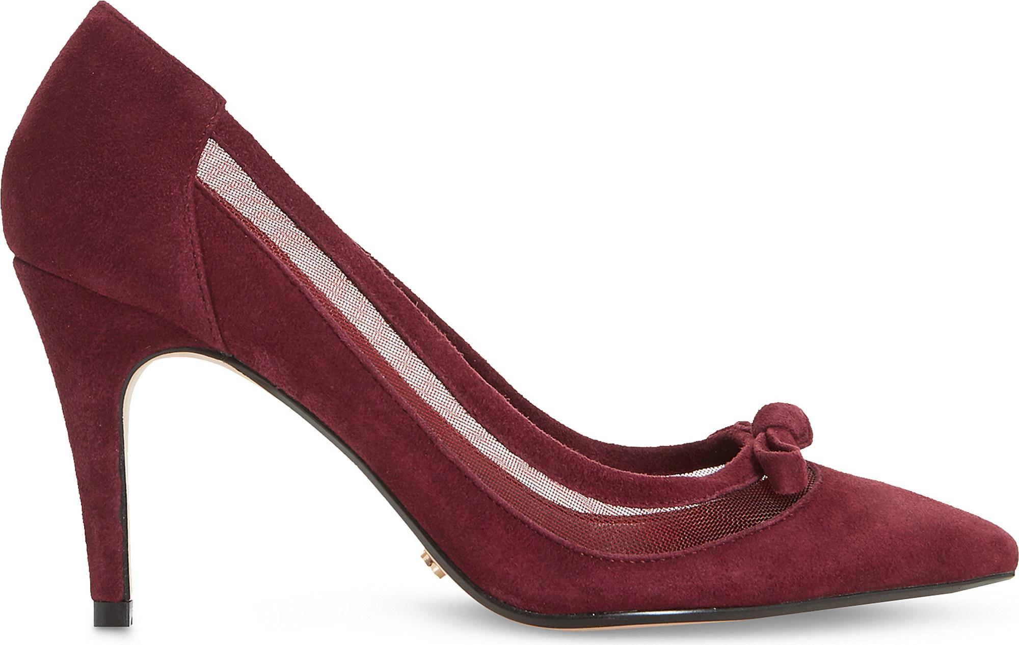 Berry suede DUNE Blume mesh panel suede courts