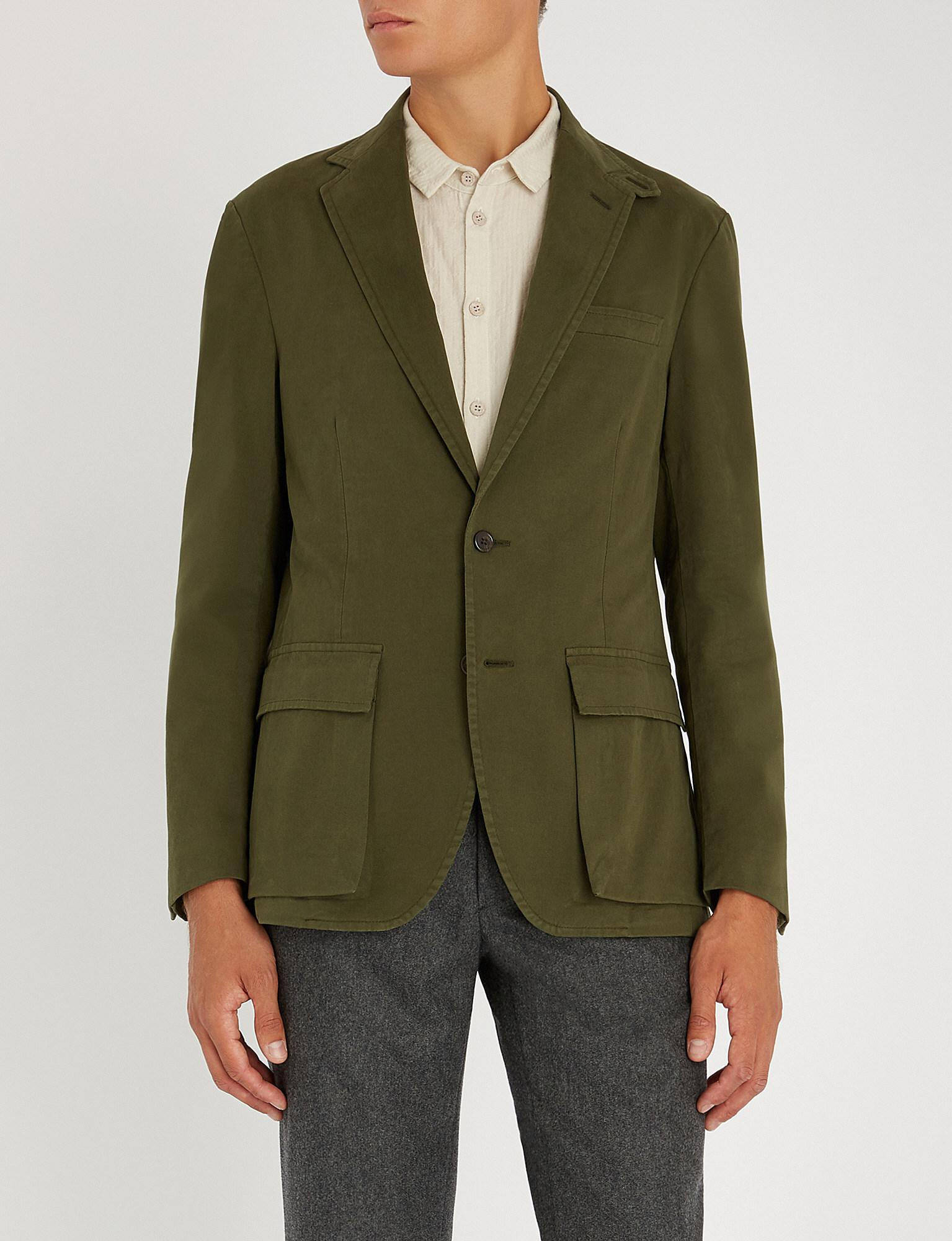 654afc8d Polo Ralph Lauren Single-breasted Cotton Blend Jacket in Green for ...